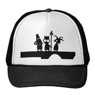 Imported Trucker cap black and white drawing Hats