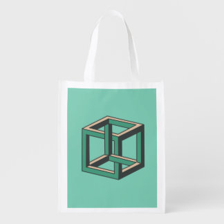 Impossible Cube Optical Illusion Reusable Bag