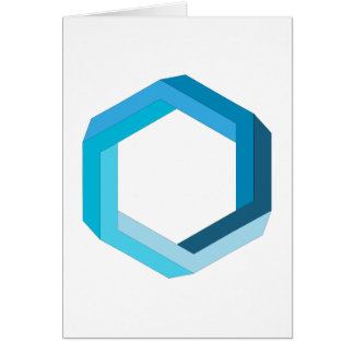 Impossible geometry: Blue hexagon. Note Card