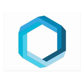 Impossible geometry: Blue hexagon. Postcard