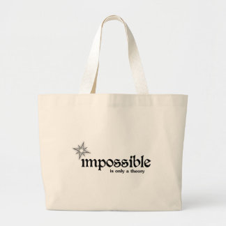 Impossible is Only a Theory Quote Jumbo Tote Bag