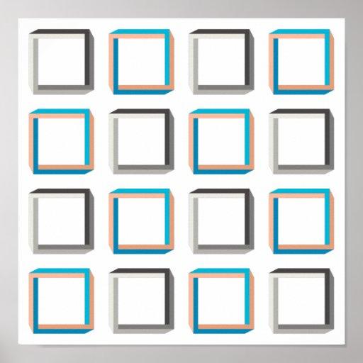 Impossible squares elegant geometric pattern poster