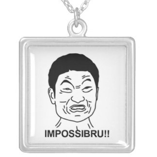 Impossibru!! Comic Face Square Pendant Necklace