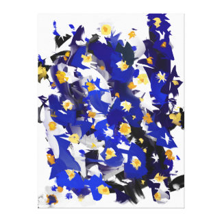 "Impression on fabric, Large model, ""Blue Flowers "" Canvas Print"