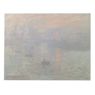 Impression Sunrise by Claude Monet, Vintage Art Notepad