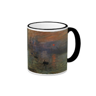 Impression Sunrise by Claude Monet, Vintage Art Ringer Mug