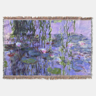 Impressionism Water Lilies Flower Painting Throw Blanket