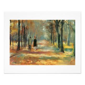 Impressionist art by Ury couple walking in woods 11.5 Cm X 14 Cm Flyer