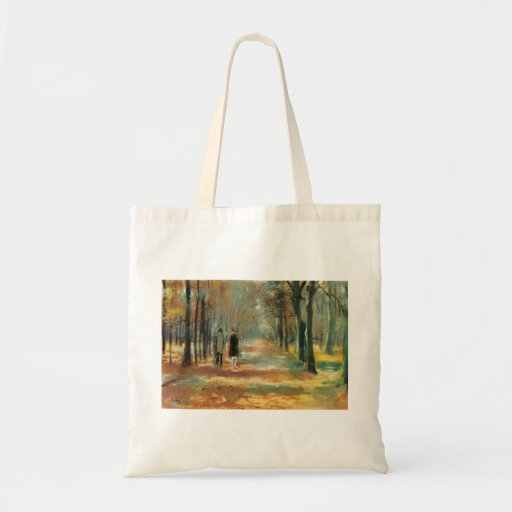 Impressionist art by Ury couple walking in woods Canvas Bags