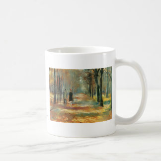Impressionist art by Ury couple walking in woods Basic White Mug