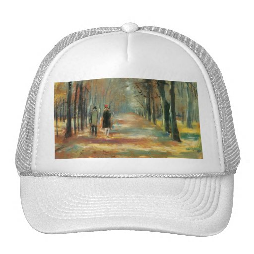 Impressionist art by Ury couple walking in woods Mesh Hats