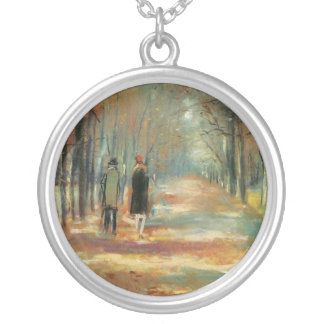 Impressionist art by Ury couple walking in woods Necklaces