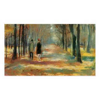 Impressionist art by Ury couple walking in woods Pack Of Standard Business Cards