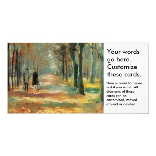 Impressionist art by Ury couple walking in woods Photo Greeting Card