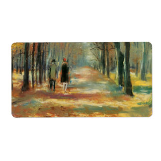 Impressionist art by Ury couple walking in woods Shipping Label