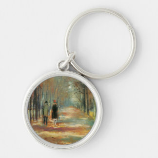Impressionist art by Ury couple walking in woods Silver-Colored Round Key Ring