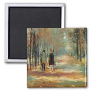 Impressionist art by Ury couple walking in woods Square Magnet