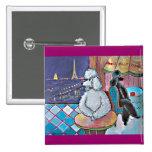 Impressionist Art Poodles Paris Cafe Magnet 15 Cm Square Badge