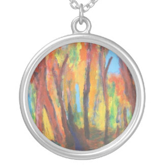 Impressionist Autumn Forest Necklace