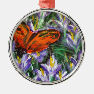 Impressionist butterfly christmas ornament