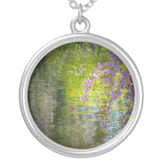 Impressionist Cherry Blossoms Round Pendant Necklace