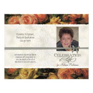 Impressionist Coral Yellow Rose 2 Memorial Service 21.5 Cm X 28 Cm Flyer