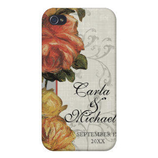 Impressionist Coral Yellow Wedding or Anniversary Cases For iPhone 4