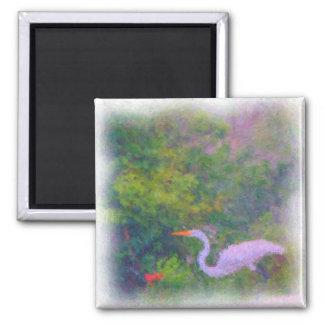 Impressionist Egret Magnet