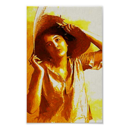 Impressionist Girl With Straw Hat Poster