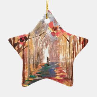 Impressionist Path Ceramic Star Decoration