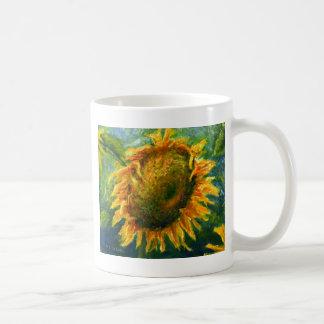 Impressionist Sunflower Face Basic White Mug