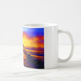 Impressionist sunset beach Landscape Digital Basic White Mug
