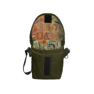 Impressionist Sunset Stamp Art, Small Travel Bag Messenger Bag