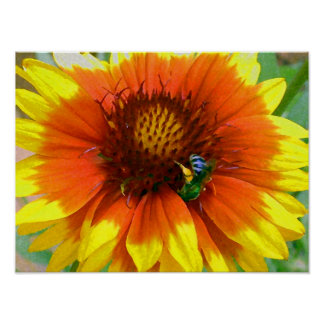 Impressionistic Blue Bee and Flower Posters