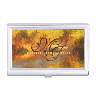Impressionistic Golden Hues Monogrammed Business Card Holder
