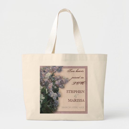 Impressionistic Lilacs - Bride Bridal Jumbo Tote