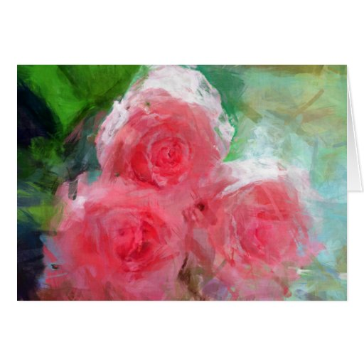 Impressionistic Pink Roses Greeting Card