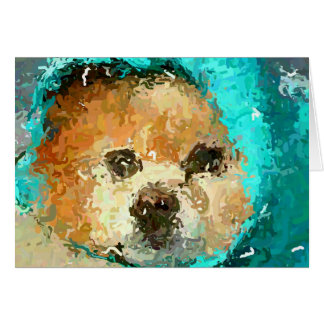Impressionistic Pom Raincoat Note Card