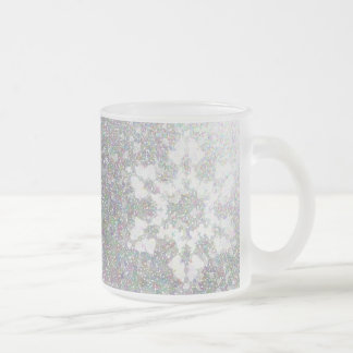 Impressionistic Snowflake Frosted Glass Coffee Mug
