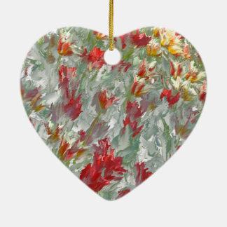 Impressionistic Tulips Ceramic Heart Decoration