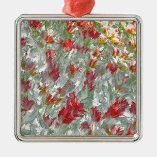 Impressionistic Tulips Silver-Colored Square Decoration