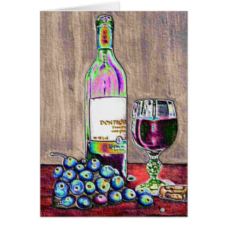 Impressionistic Wine and Grapes Art Card