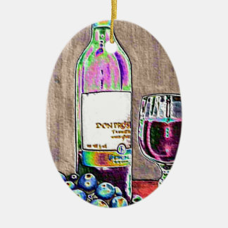 Impressionistic Wine and Grapes Art Christmas Ornament