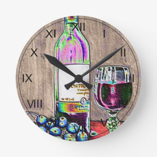 Impressionistic Wine and Grapes Art Clock