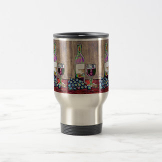 Impressionistic Wine and Grapes Art Stainless Steel Travel Mug