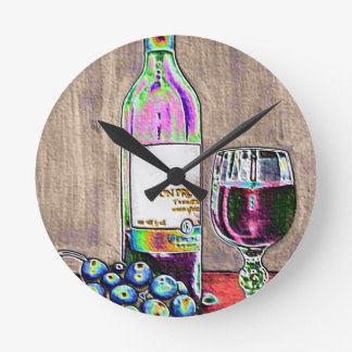 Impressionistic Wine and Grapes Art Round Clock