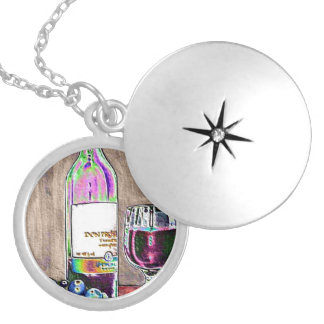 Impressionistic Wine and Grapes Art Round Locket Necklace