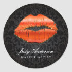 Impressive 3D Red Lips Classy Damask Makeup Artist Classic Round Sticker