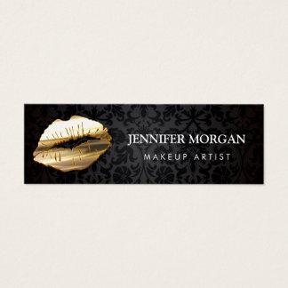 Impressive Eye Catching 3D Gold Lips Makeup Artist Mini Business Card