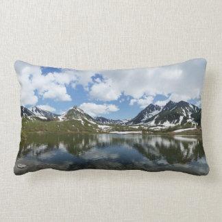 Impressive mountain landscape: lake, cloud, sky lumbar cushion